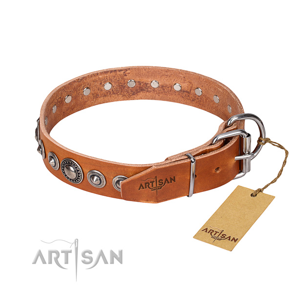 Full grain leather dog collar made of top notch material with rust-proof embellishments