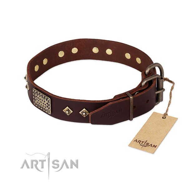 Genuine leather dog collar with rust-proof fittings and studs
