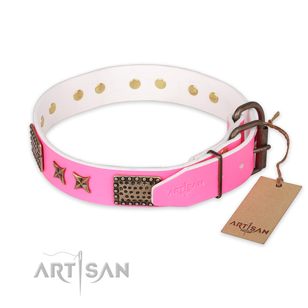 Rust-proof fittings on leather collar for your stylish pet