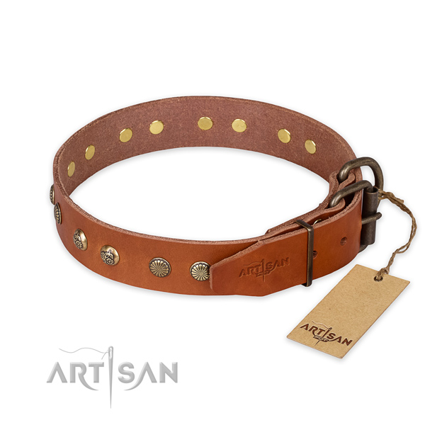 Corrosion proof buckle on natural genuine leather collar for your beautiful pet