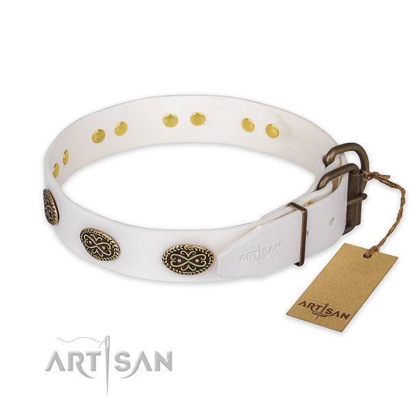 Rust resistant fittings on genuine leather collar for fancy walking your pet