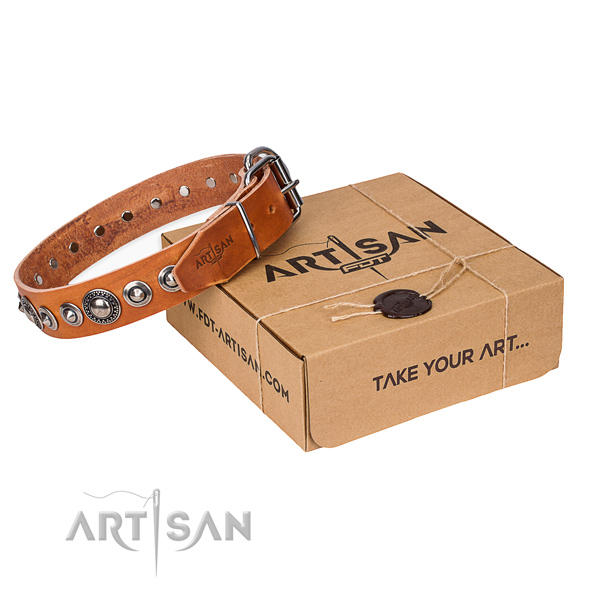 Full grain leather dog collar made of gentle to touch material with rust-proof fittings