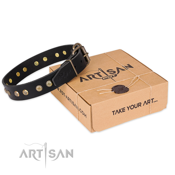 Rust resistant hardware on full grain leather collar for your stylish pet