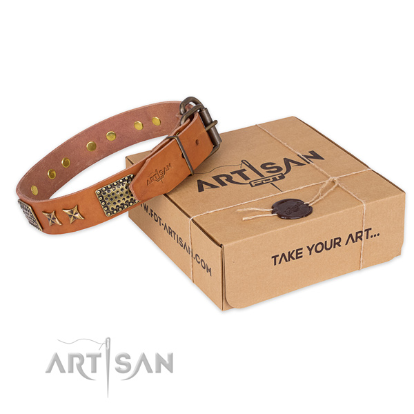 Rust resistant buckle on natural genuine leather collar for your impressive dog