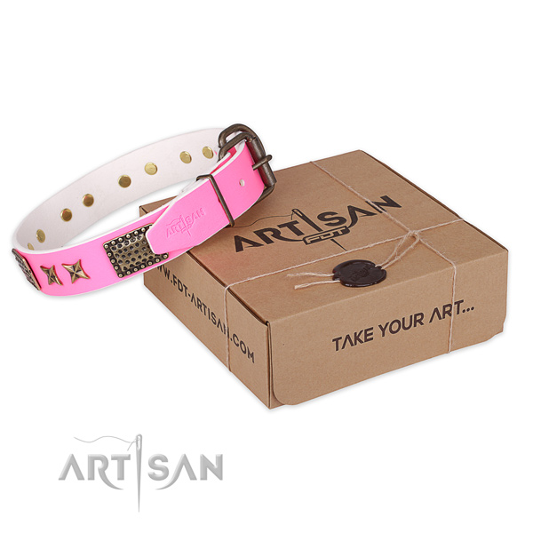 Rust-proof buckle on full grain genuine leather collar for your beautiful dog
