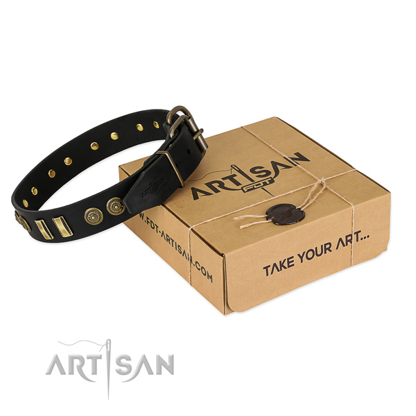 Durable decorations on full grain genuine leather dog collar for your pet