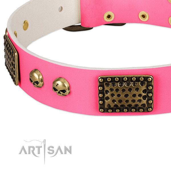 Rust resistant D-ring on genuine leather dog collar for your dog