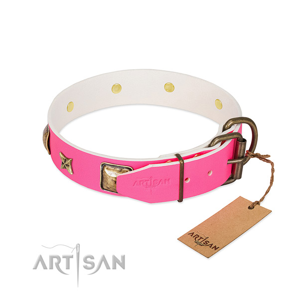 Rust resistant buckle on natural genuine leather collar for stylish walking your pet