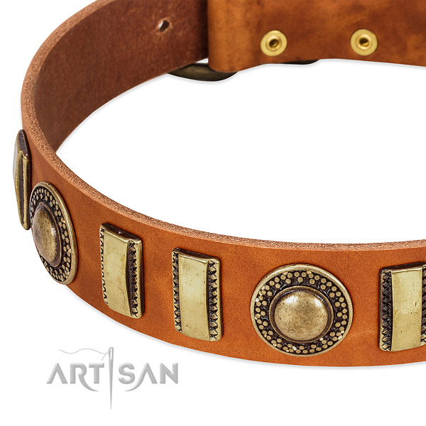 Gentle to touch full grain genuine leather dog collar with rust resistant D-ring
