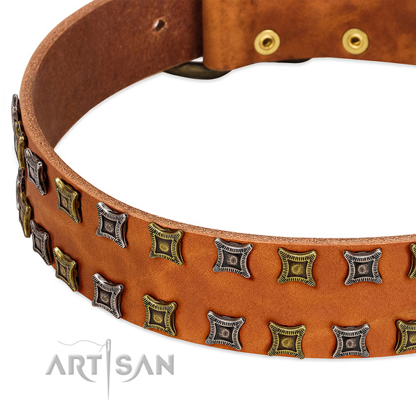 Strong full grain genuine leather dog collar for your beautiful dog
