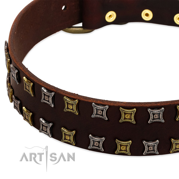 Flexible full grain genuine leather dog collar for your impressive dog