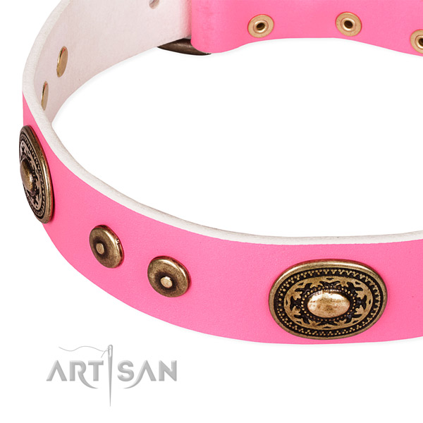 Full grain natural leather dog collar made of soft material with studs
