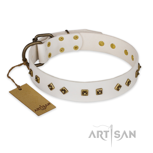 Fine quality genuine leather dog collar with reliable fittings