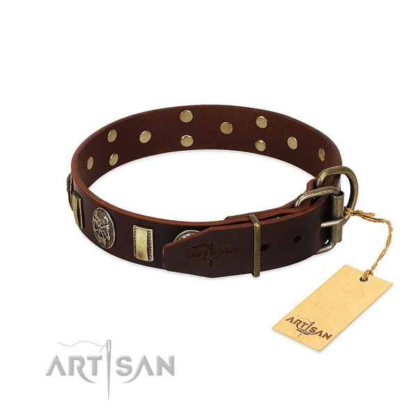 Full grain genuine leather dog collar with reliable D-ring and decorations