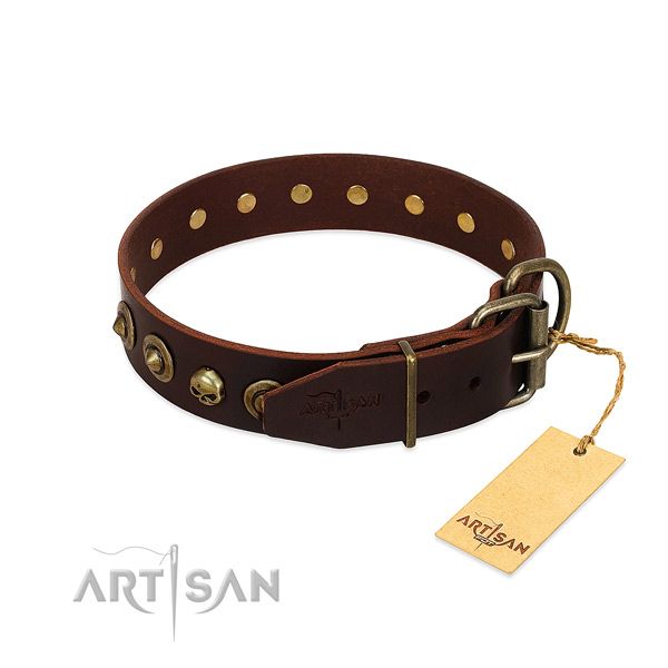 Full grain leather collar with unusual decorations for your dog