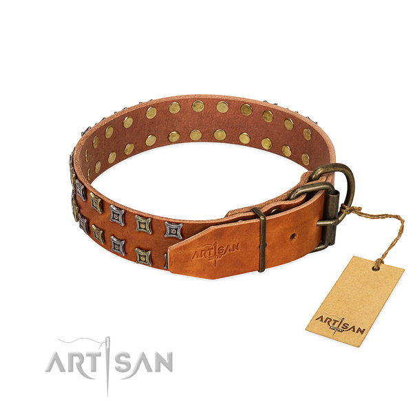 Top notch leather dog collar created for your pet