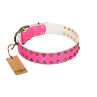 """Blushing Star"" FDT Artisan Pink Leather Belgian Malinois Collar with Two Rows of Small Studs"