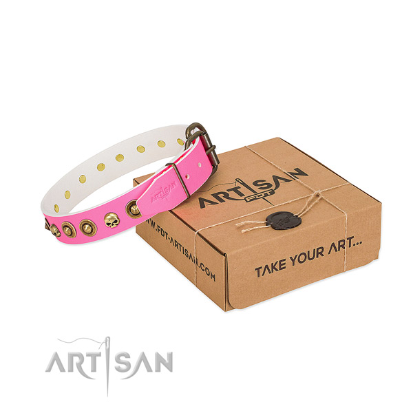 Genuine leather collar with trendy embellishments for your four-legged friend