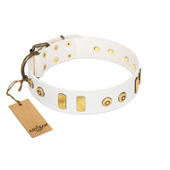 """Golden Union"" Elegant FDT Artisan White Leather Belgian Malinois Collar with Old Bronze-like Dotted Studs and Tiles"