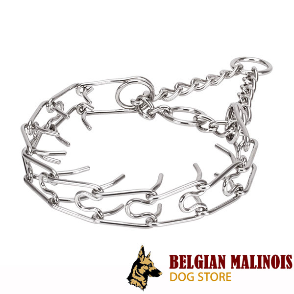 Reliable stainless steel dog prong collar for large breeds