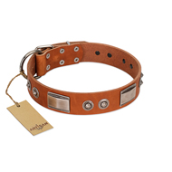 """Pawsy Glossy"" FDT Artisan Exclusive Tan Leather Belgian Malinois Collar 1 1/2 inch (40 mm) wide"