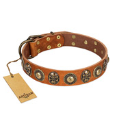 """Golden Epoch"" FDT Artisan Tan Leather Belgian Malinois Collar with Old Bronze-plated Medallions and Conchos"