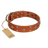 """Tawny Beauty"" FDT Artisan Tan Leather Belgian Malinois Collar Adorned with Stars and Tiny Squares"