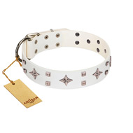 """The Milky Way"" FDT Artisan White Leather Belgian Malinois Collar Adorned with Stars and Tiny Squares"