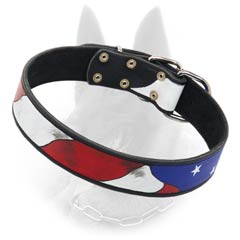 Belgian Malinois Leather Buckle Collar Hand Pinted  American Flag