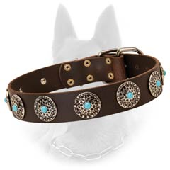 Leather Belgian Malinois Dog Collar With Blue Stones