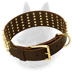 Extra Wide Leather Belgian Malinois Dog Collar With 5  Rows Of Brass Spikes
