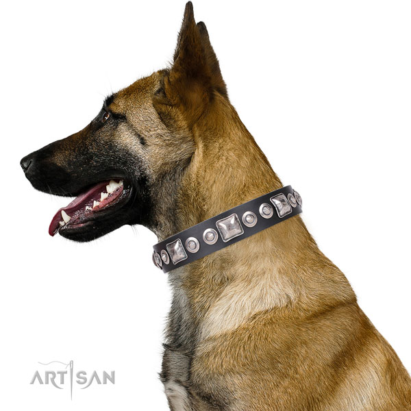 Awesome embellished natural leather dog collar for comfortable wearing