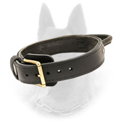 Strong 2 Ply Leather Belgian Malinois Collar for Effective Training