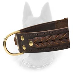 Genuine Leather Belgian Malinois Dog Collar With Brass  Hardware