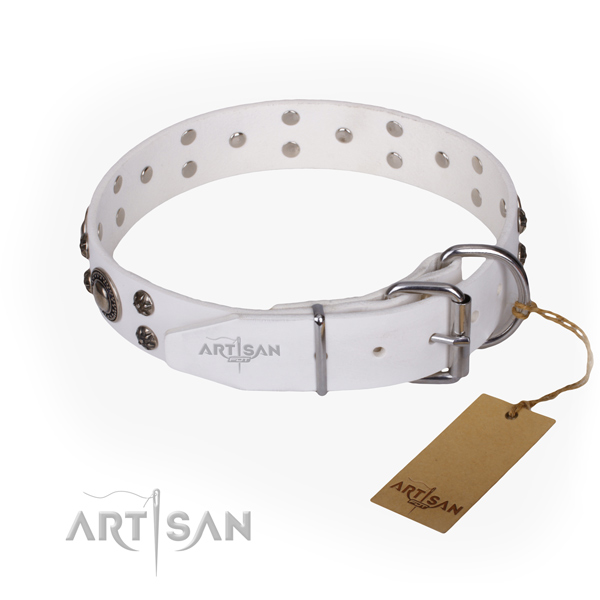 Stylish walking full grain genuine leather collar with decorations for your dog