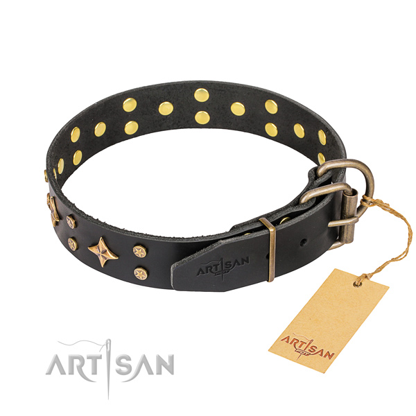 Handy use leather collar with decorations for your pet
