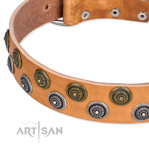 Genuine leather dog collar with unique decorations