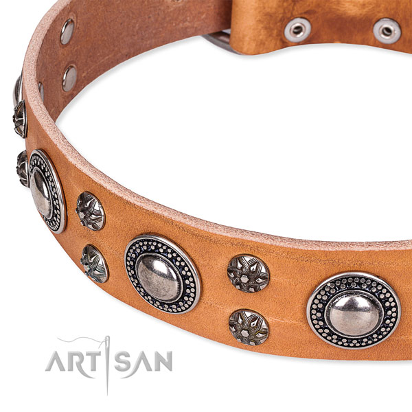 Handy use full grain genuine leather collar with strong buckle and D-ring