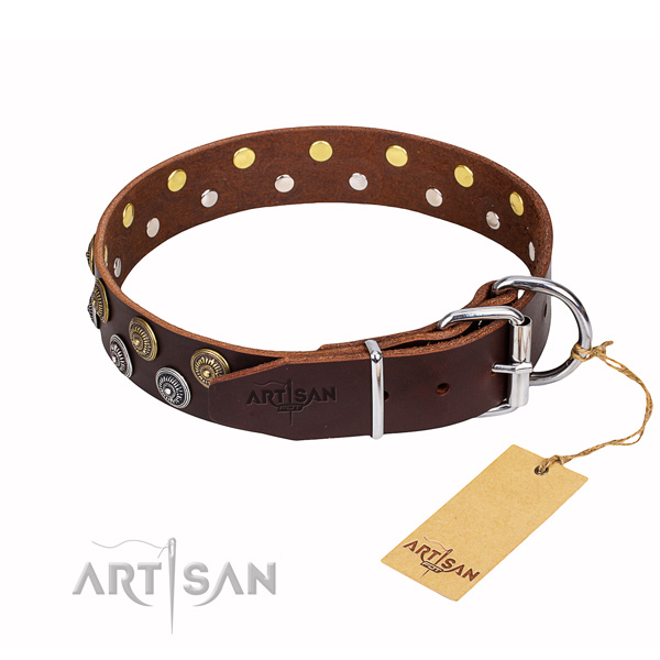 Handy use natural genuine leather collar with decorations for your four-legged friend