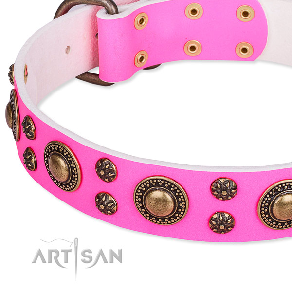 Natural genuine leather dog collar with inimitable adornments