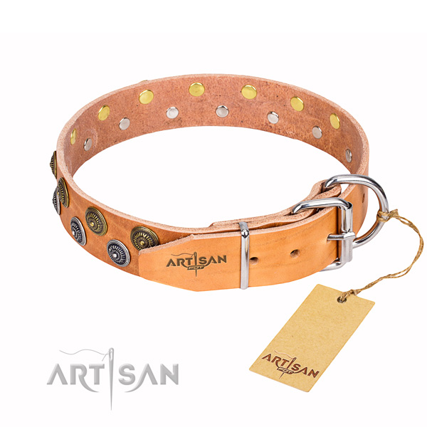 Incredible full grain natural leather dog collar for handy use