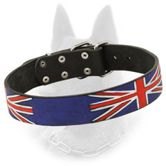 Black Belgian Malinois Leather Collar with British Flag Decoration