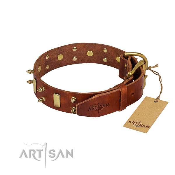Full grain genuine leather dog collar with worked out surface