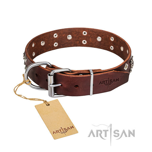 Strong leather dog collar with rust-resistant fittings