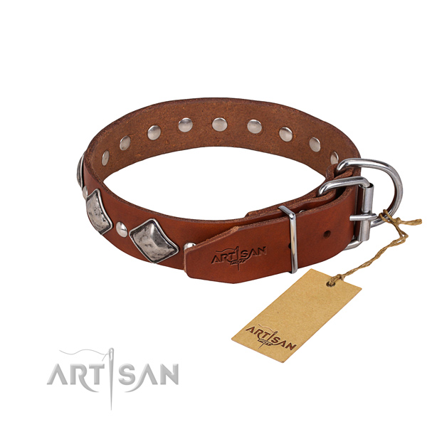 Full grain natural leather dog collar with thoroughly polished finish