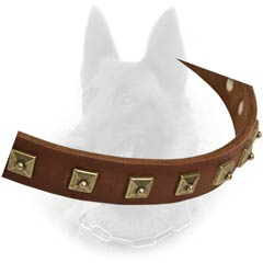 Hand Set Studs Decoration Leather Malinois Dog Collar