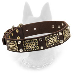 Noble Belgian Malinois Leather Collar Vintage Design