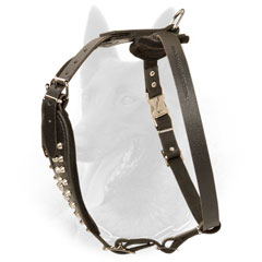 Adjustable Leather Belgian Malinois Harness with Nickel Plated Hardware