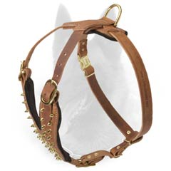 Spiked Leather Belgian Malinois Harness with Easy Adjustable Straps