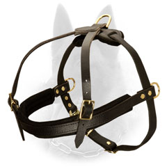 Leather Belgian Malinois Harness with Soft Felt Padded Front Strap
